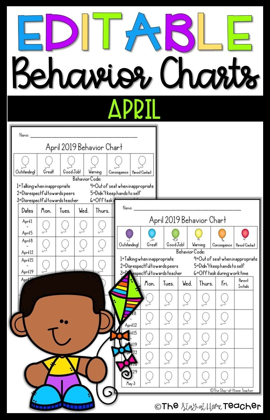 Editable Monthly Behavior Calendars 2019-2020 | The Stay-At-Editable Monthly Behavior Chart