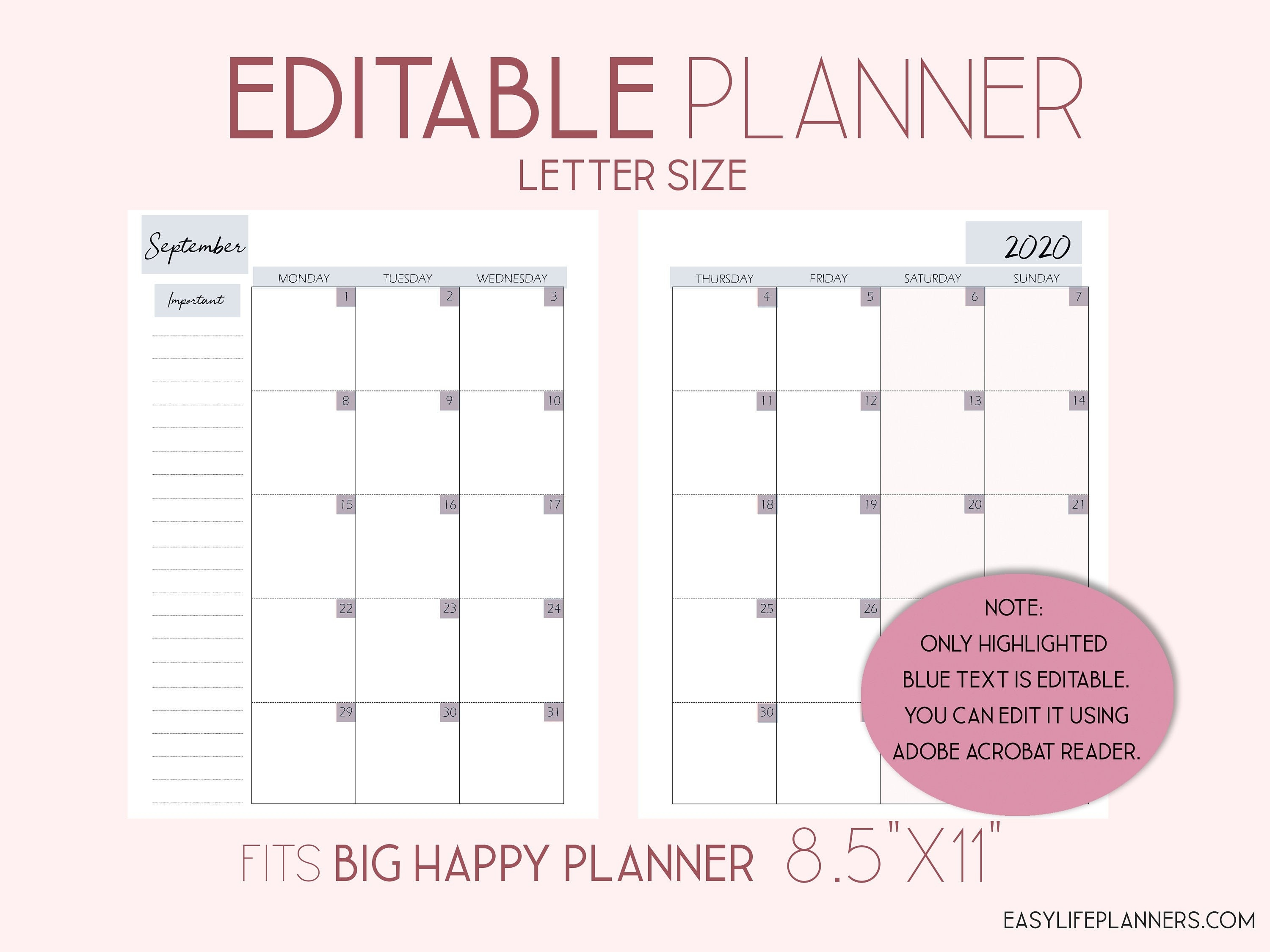Editable Planner, 2020 Monthly Planner Pages, Monthly Layout-2 Page Monthly Planner 2020 Template