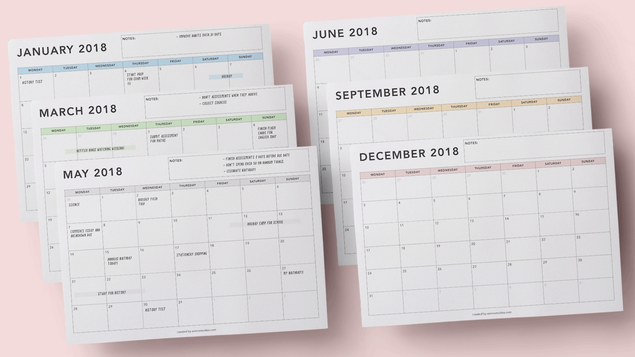 Emma's Studyblr — With The New Semester Starting Up Soon, I-Studying Monthly Calendar Template
