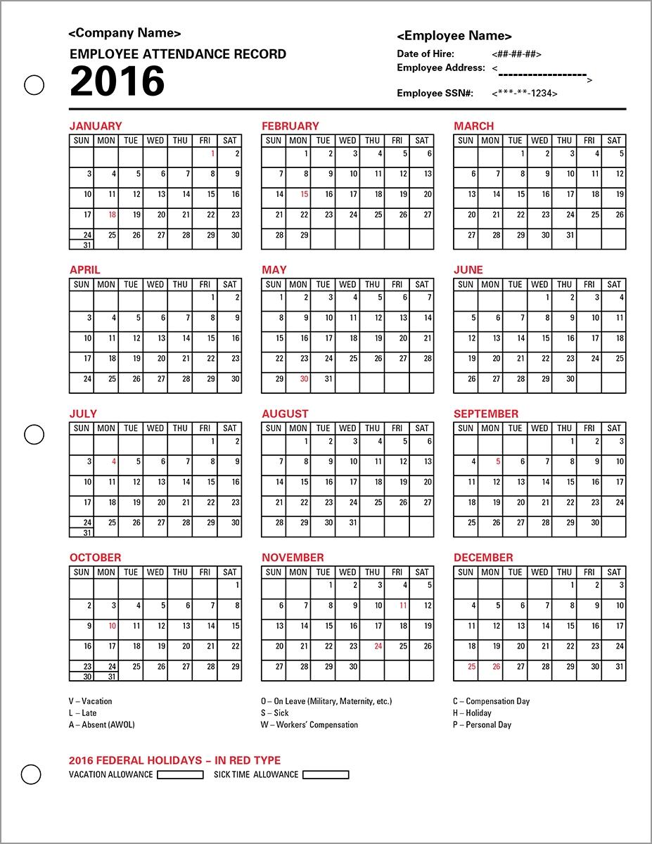 Employee Attendance Calendar 2016, Tracker Templates 2016-Attendance Calendars For Employee Template