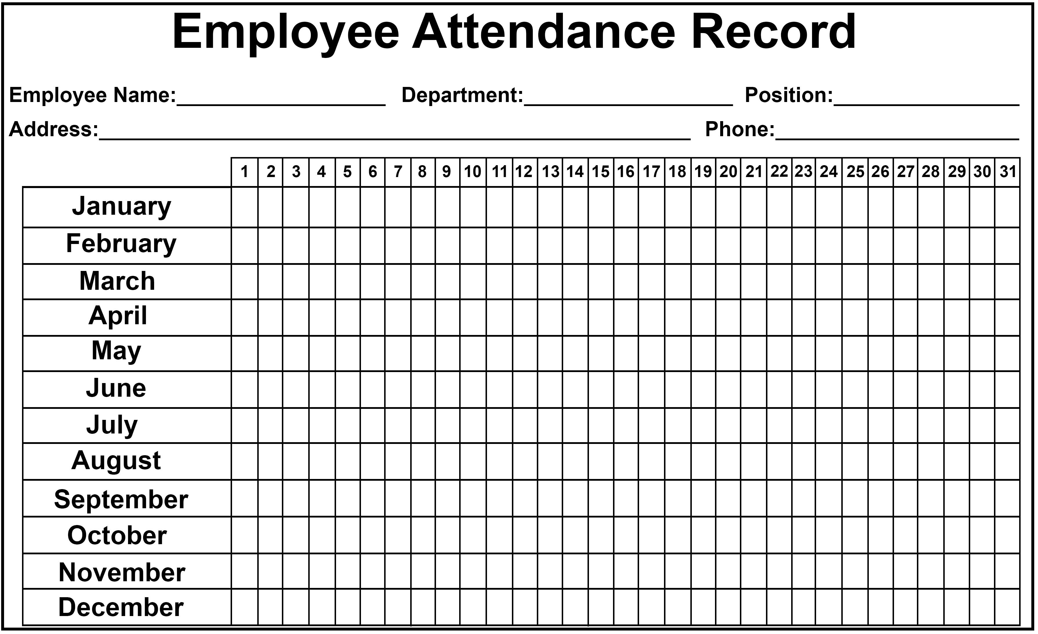 Employee Attendance Tracker Sheet 2019 | Printable Calendar Diy-2020 Employee Attendance Calendar Record Template Free