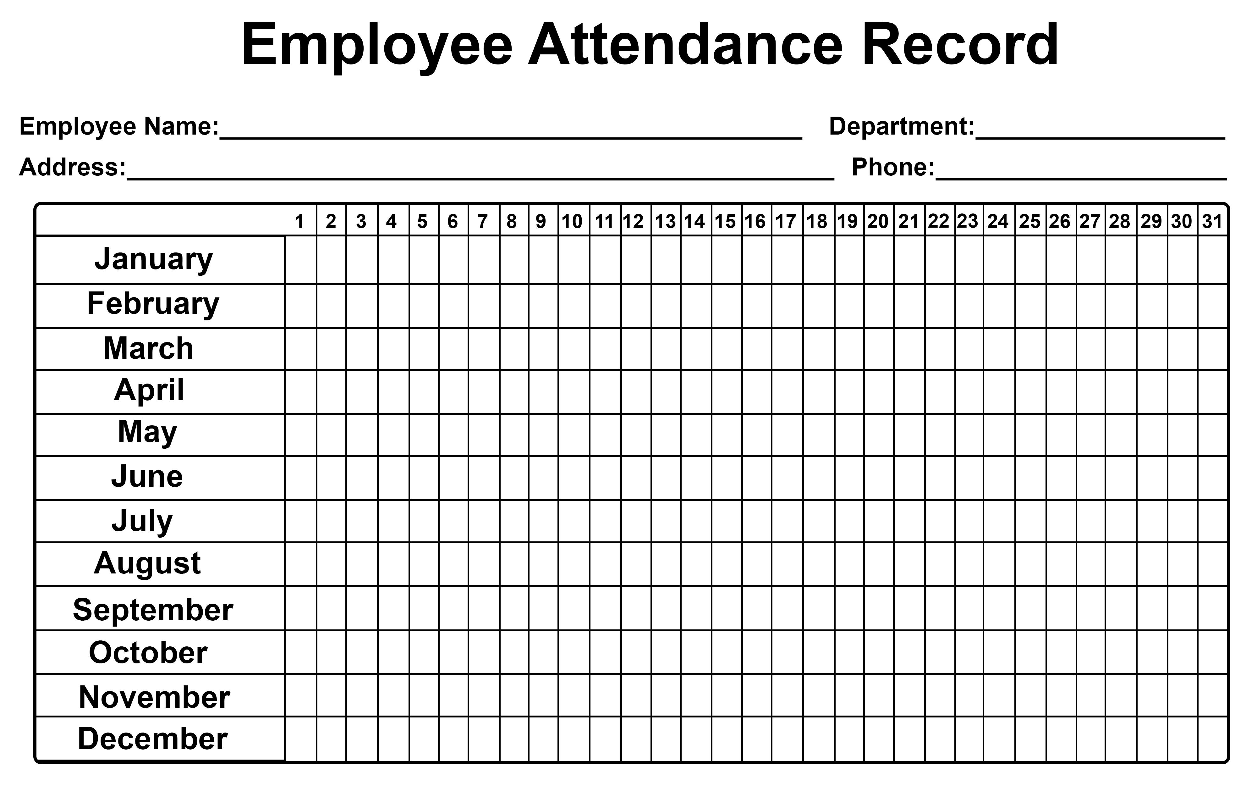 Employee Attendance Tracker Sheet 2019 | Printable Calendar Diy-2020 Employee Attendance Tracker Template Free