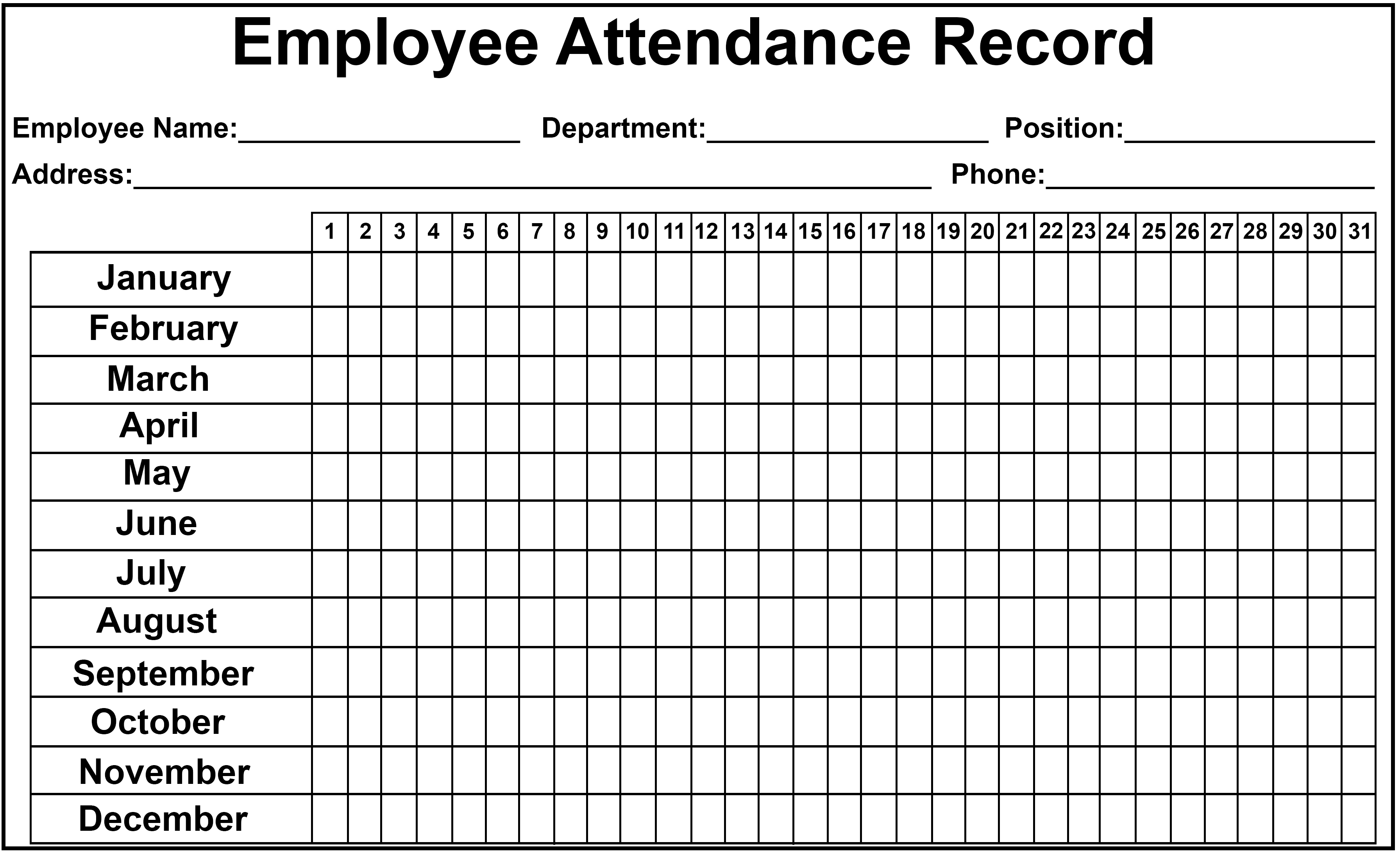 monthly employee attendance 2020