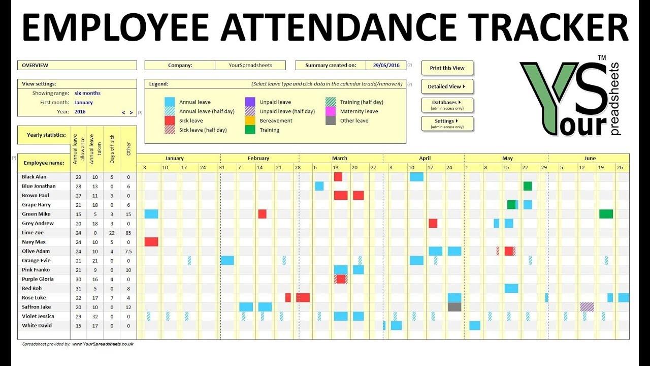 Employee Attendance Tracker Spreadsheet-2020 Employee Attendance Tracker Template Free