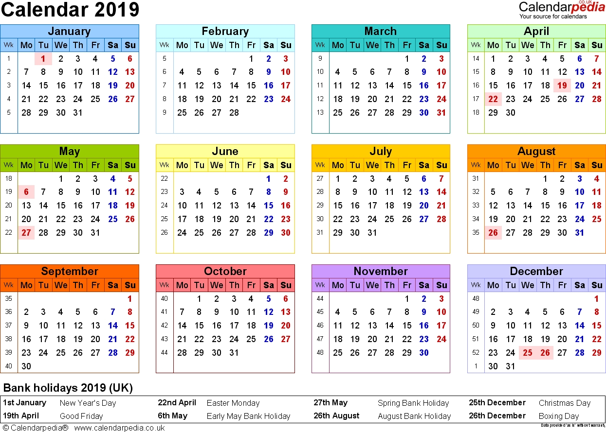 Excel Calendar 2019 (Uk): 16 Printable Templates (Xlsx, Free)-Uk Monthly Calendar Template