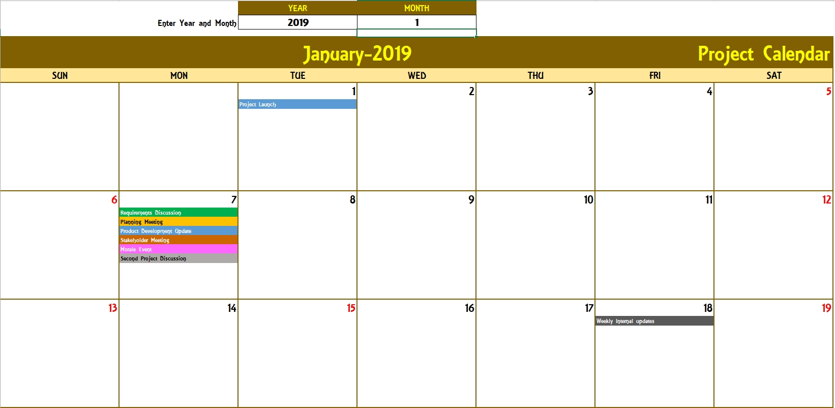 Excel Calendar Template - Excel Calendar 2019, 2020 Or Any Year-2 Page Monthly Calendar Excel