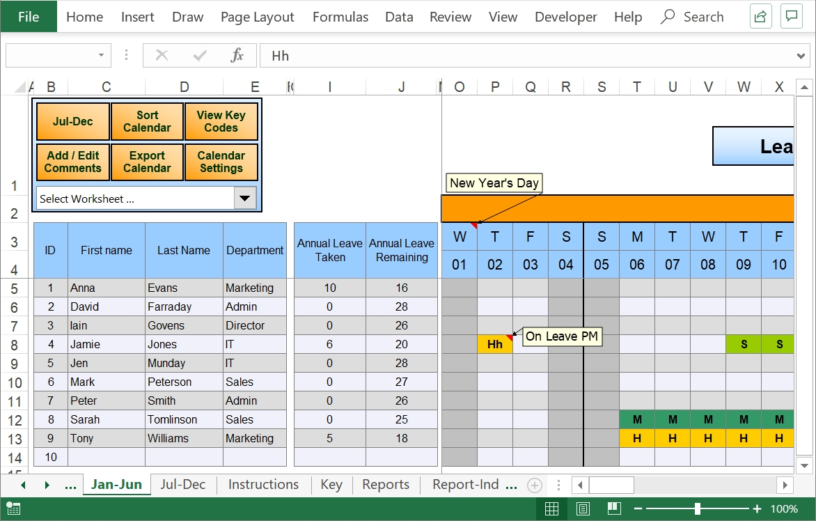 Excel Staff Leave Holiday Planner-2020 Employee Vacation Planner Template