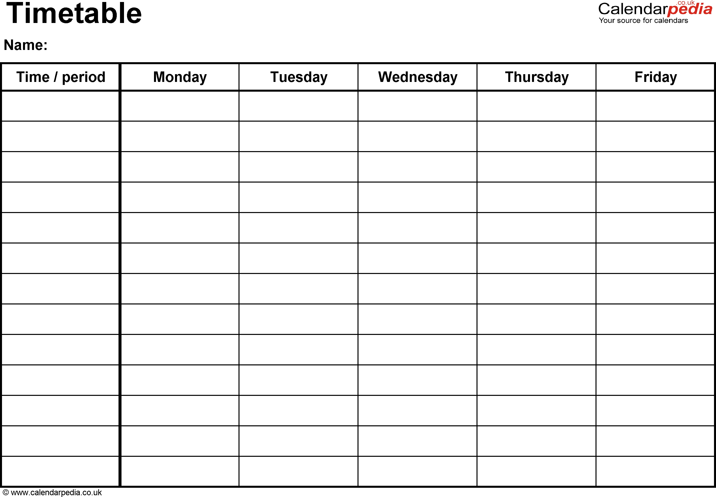 Excel Timetable Template 1: Landscape Format, A4, 1 Page-One Week Monday Through Friday Calendar Template