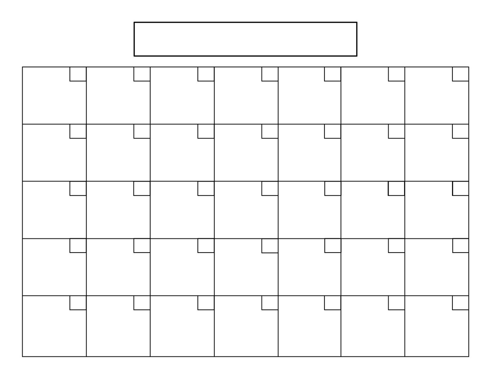 Exceptional 8.5X 11 Blank Calendar • Printable Blank-8.5 X 11 Blank Printable Calender