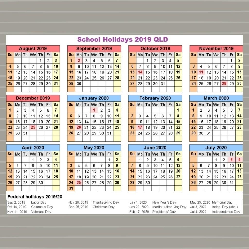 Extraordinary 2020 School Calendar Qld • Printable Blank-2020 Qld School Holidays Printable