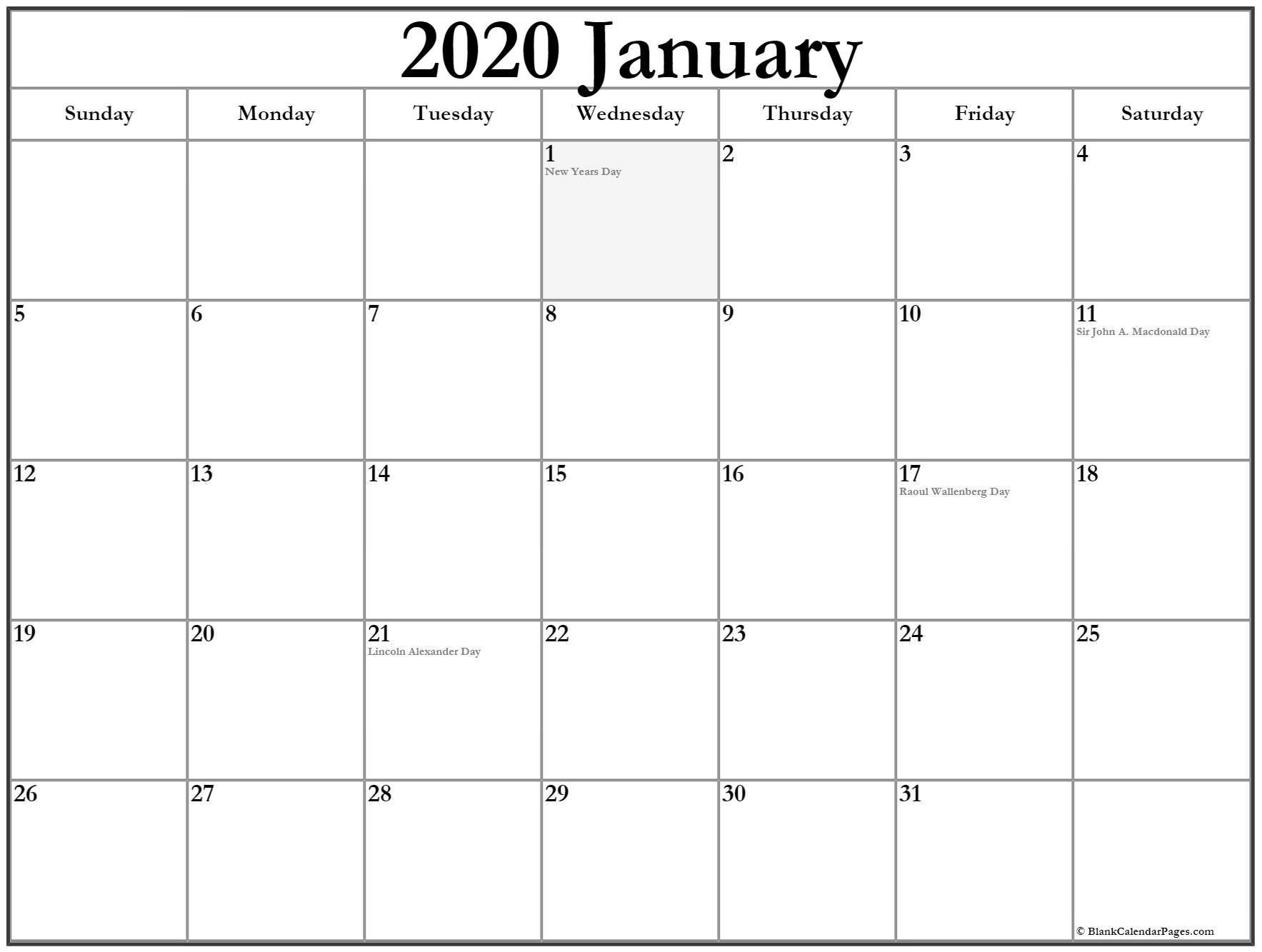 Extraordinary January 2020 Calendar Canada • Printable Blank-January 2020 Calendar Canada Printable