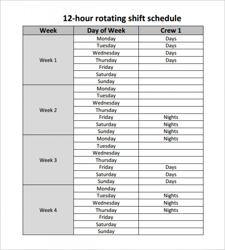 Fantastic 12 Hour Shift Schedule Template Ideas Hr Work Free-12 Hour Shift Calendar Templates