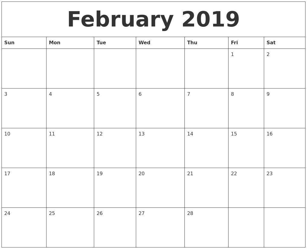 February 2019 Editable Calendar Template::february 2019-Free Fillable 2020 Calendar Template