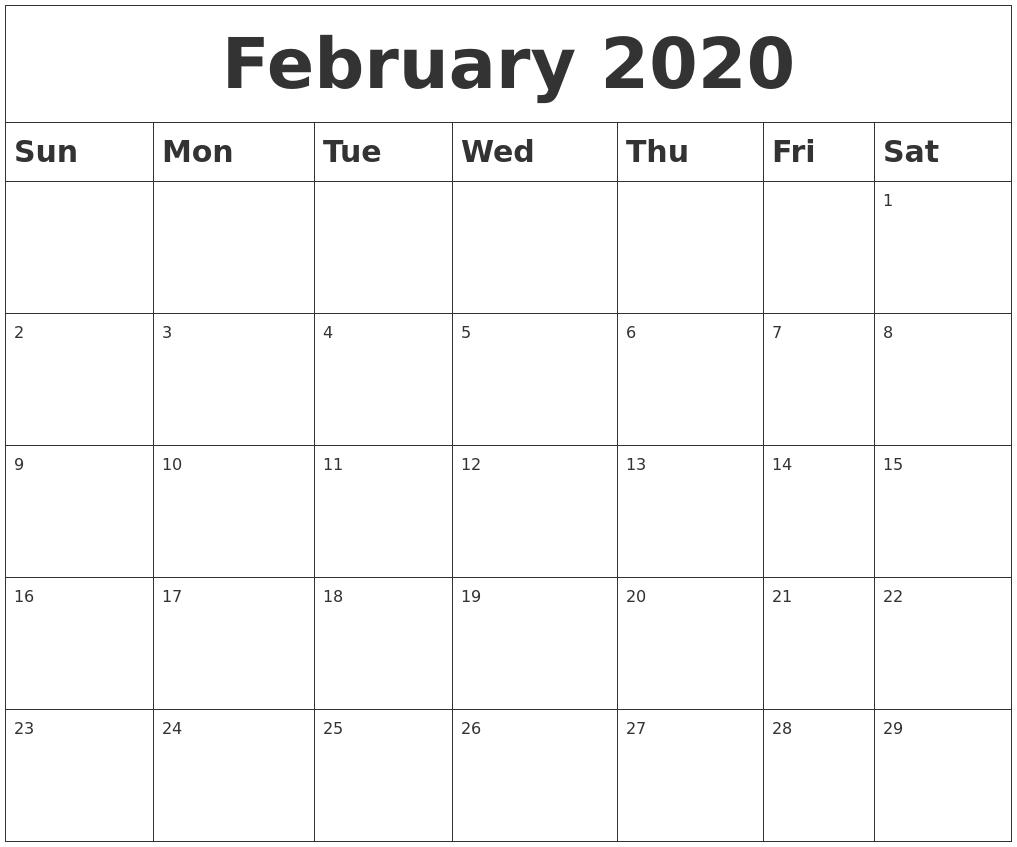 February 2020 Blank Calendar-Blank Fill In Calendars 2020 Printable