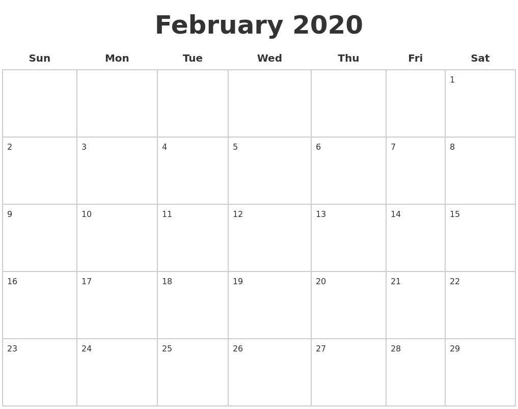 February 2020 Blank Calendar Pages-Blank 2 Pages Calendar 2020