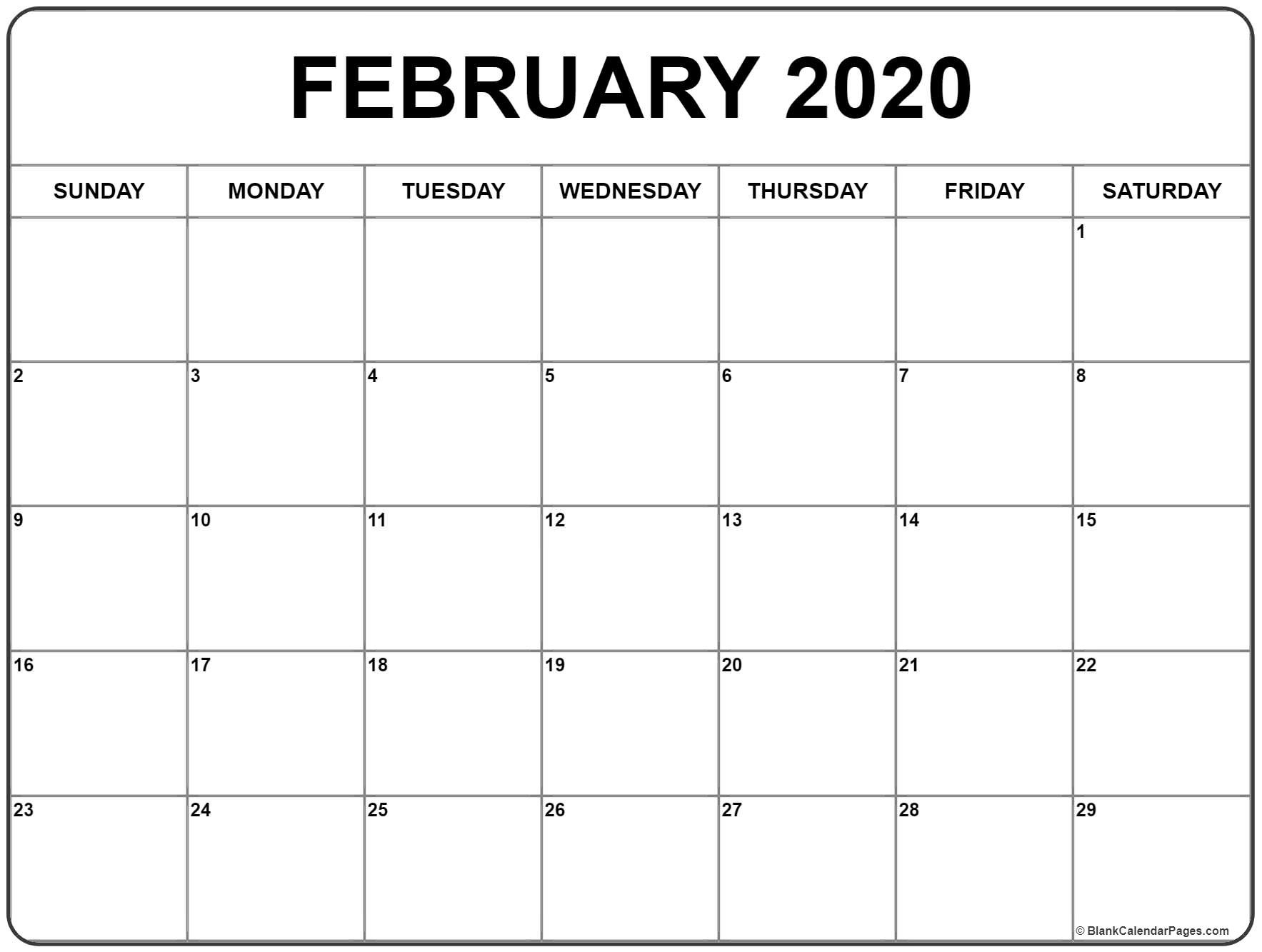 February 2020 Calendar | Free Printable Monthly Calendars-2020-2020 Printable Calendar With No Holidays