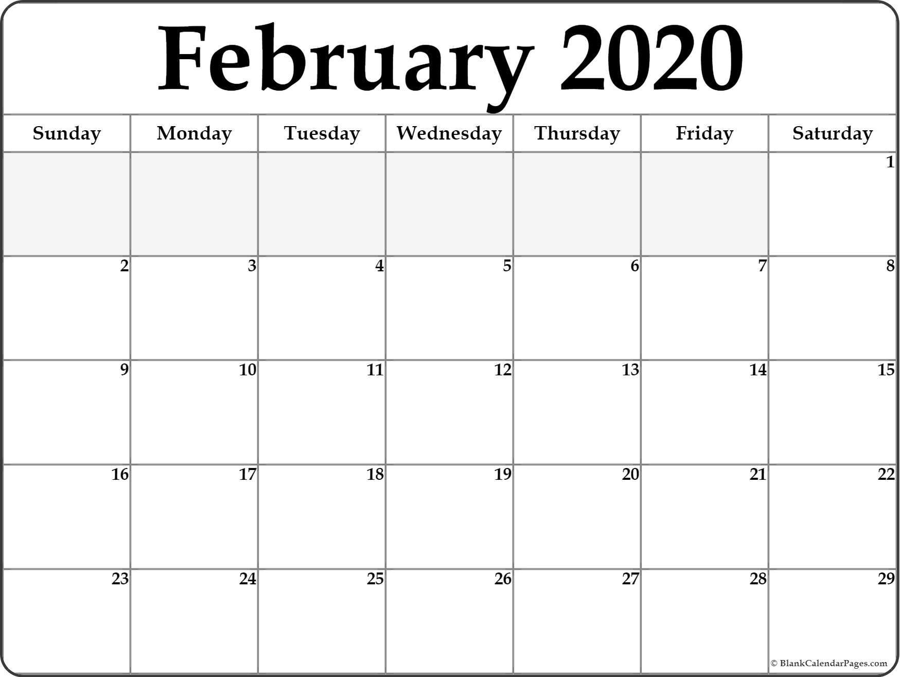 February 2020 Calendar | Free Printable Monthly Calendars-Blank Fill In Calendars 2020 Printable
