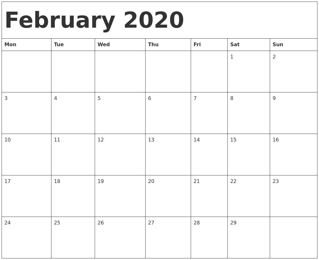 February 2020 Calendar Template-Calendar Template Monday Start
