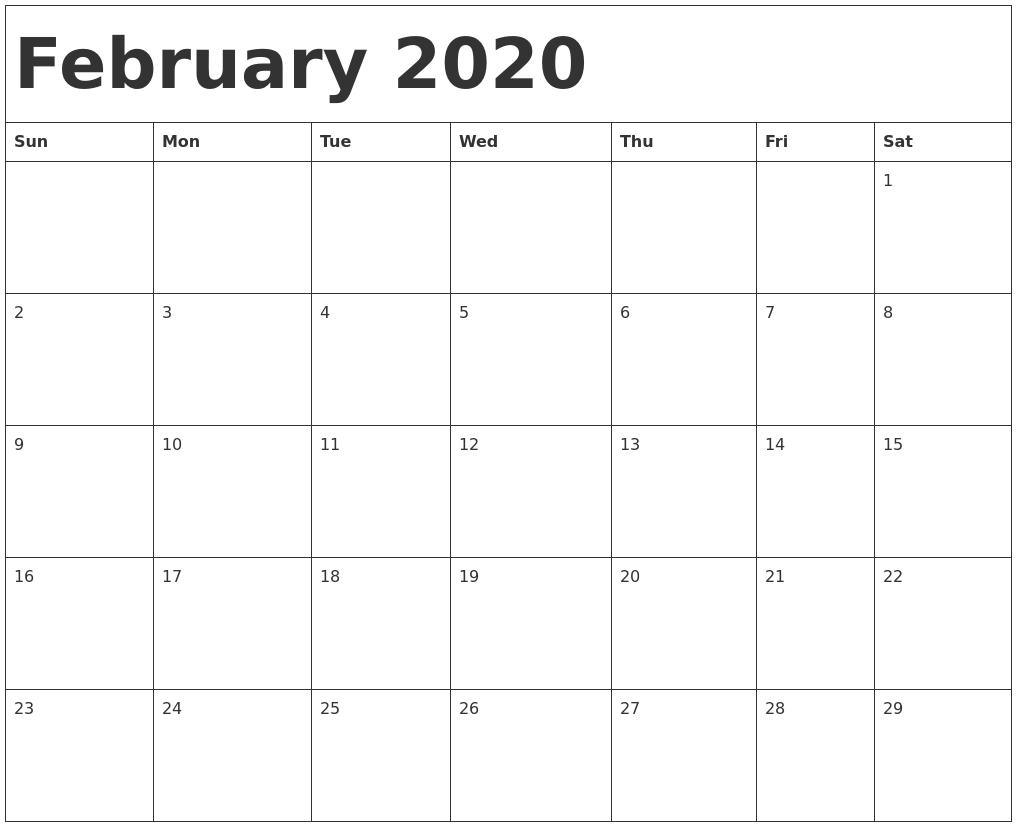 February 2020 Calendar Template-Fill In Calendar Template 2020