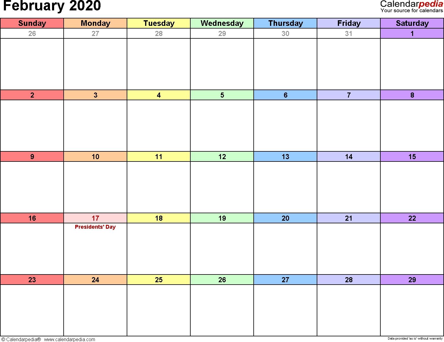 February 2020 Calendars For Word, Excel & Pdf-January 2020 Calendar Philippines