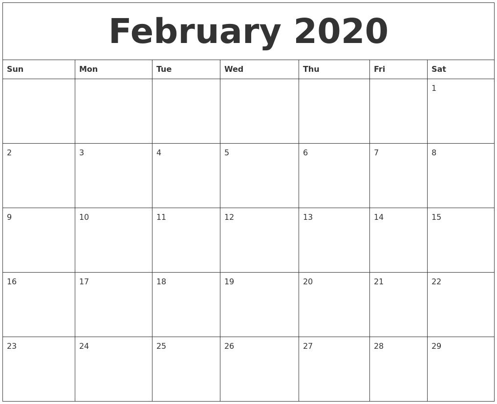 February 2020 Editable Calendar Template-Free Fillable 2020 Calendar Template