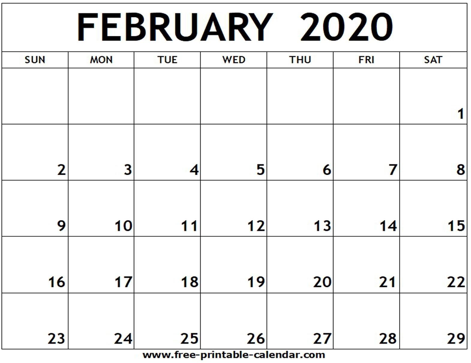 February 2020 Printable Calendar - Free-Printable-Calendar-Blank Calandar Of Events 2020