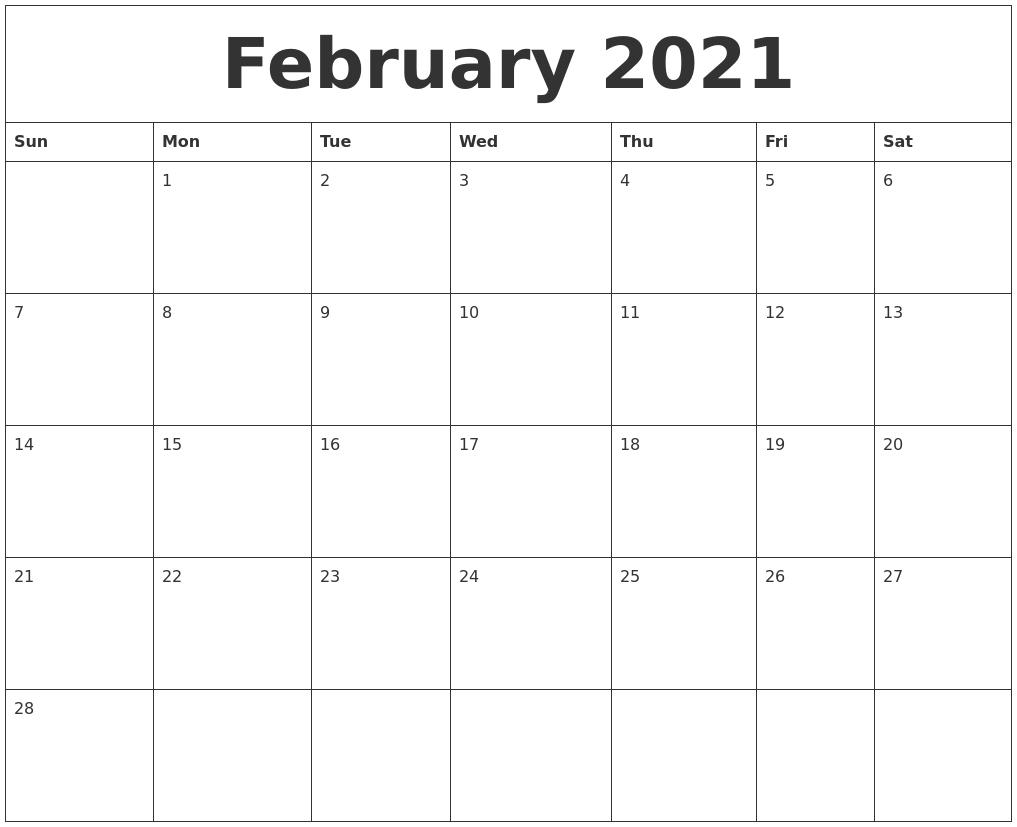 February 2021 Create Calendar-December 2020 And January 2021 Calendar