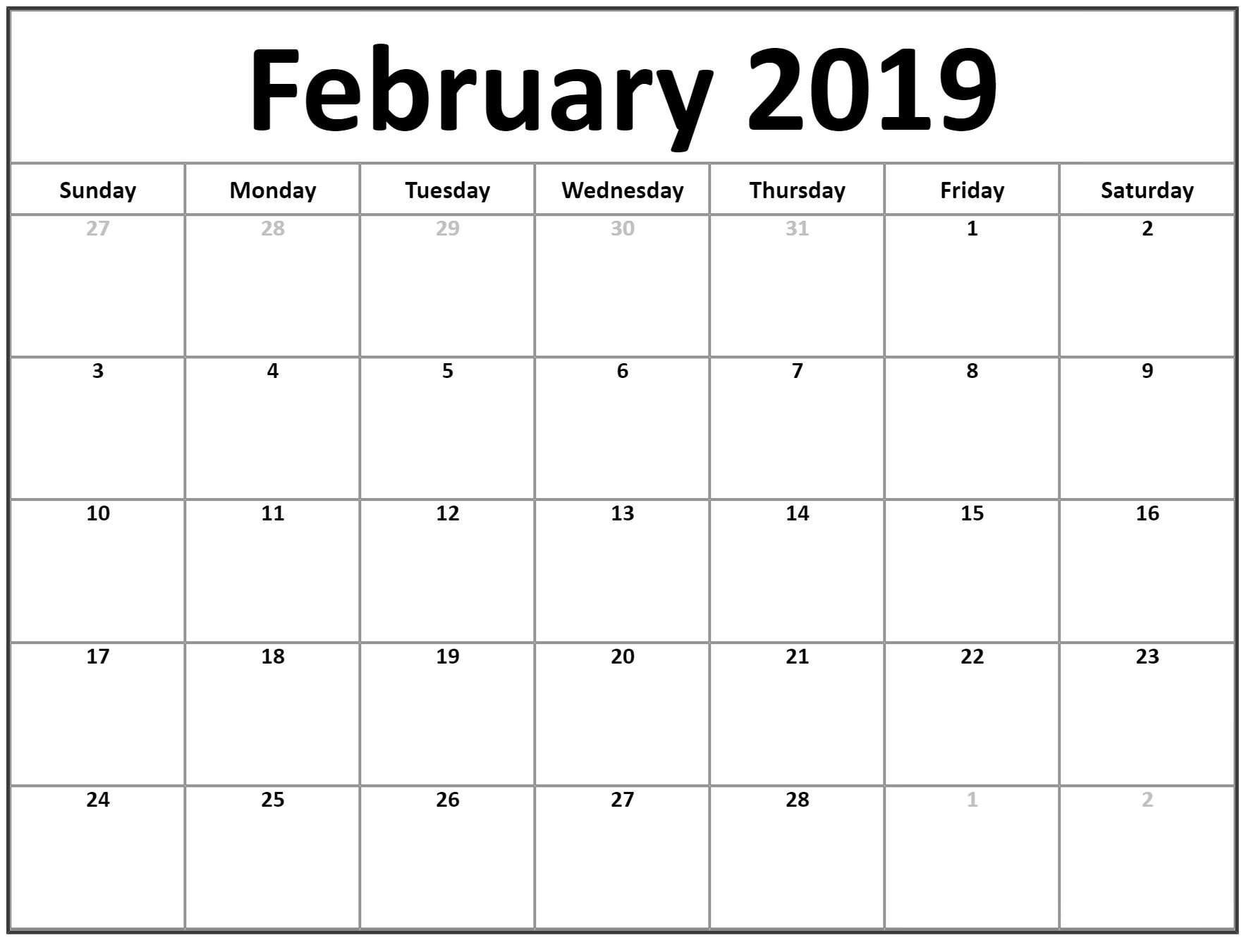 February Calendar 2019 For Office   February Calendar 2019-Free Fillable 2020 Calendar Template