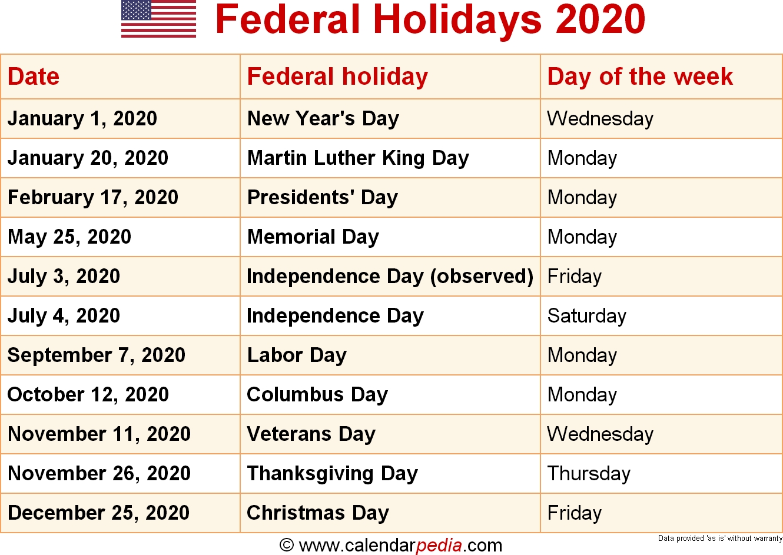 Federal Holidays 2020-2020 Holidays Printable List