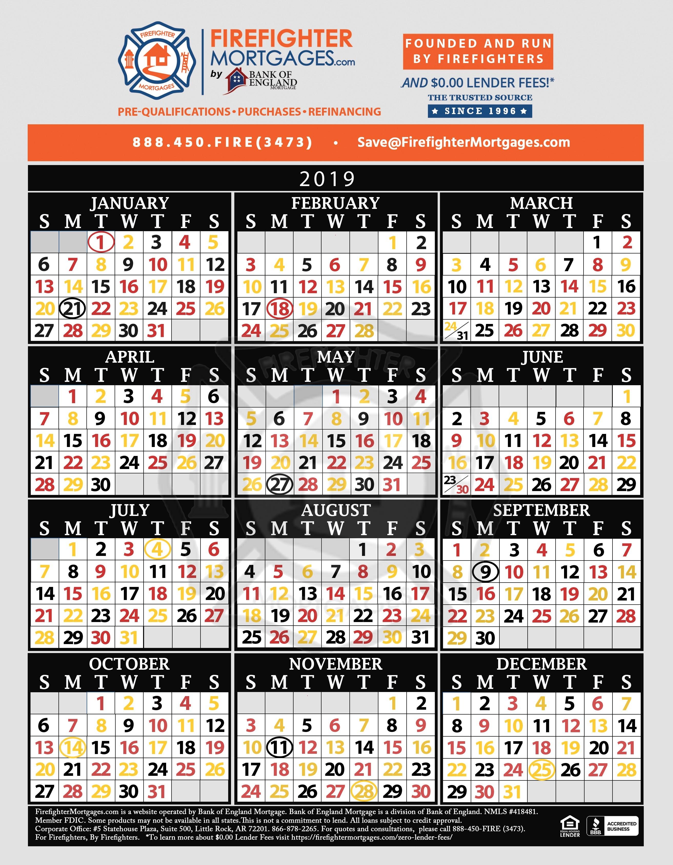 Firefighter Shift Calendar, Firefighter Calendar-Firefighter Shift Calendar Template