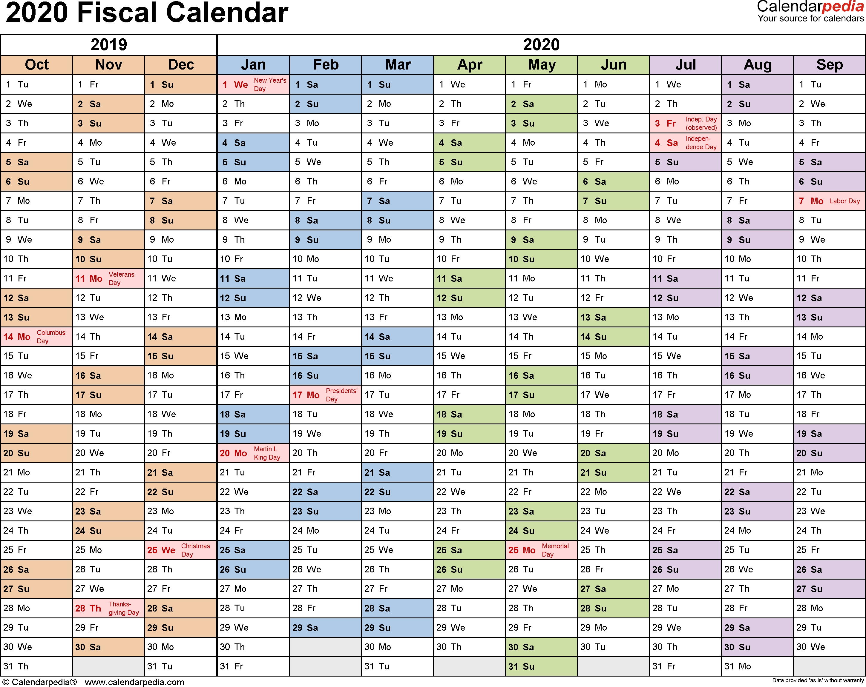 Fiscal Calendars 2020 As Free Printable Pdf Templates-Bi Weekly Pay Schedule 2020 Template