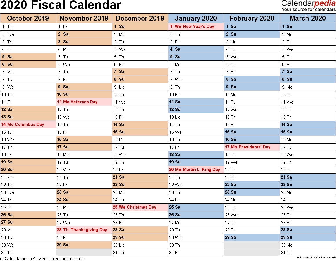 Fiscal Calendars 2020 As Free Printable Pdf Templates-Fiscal Year 2020 Academic Calendar Template