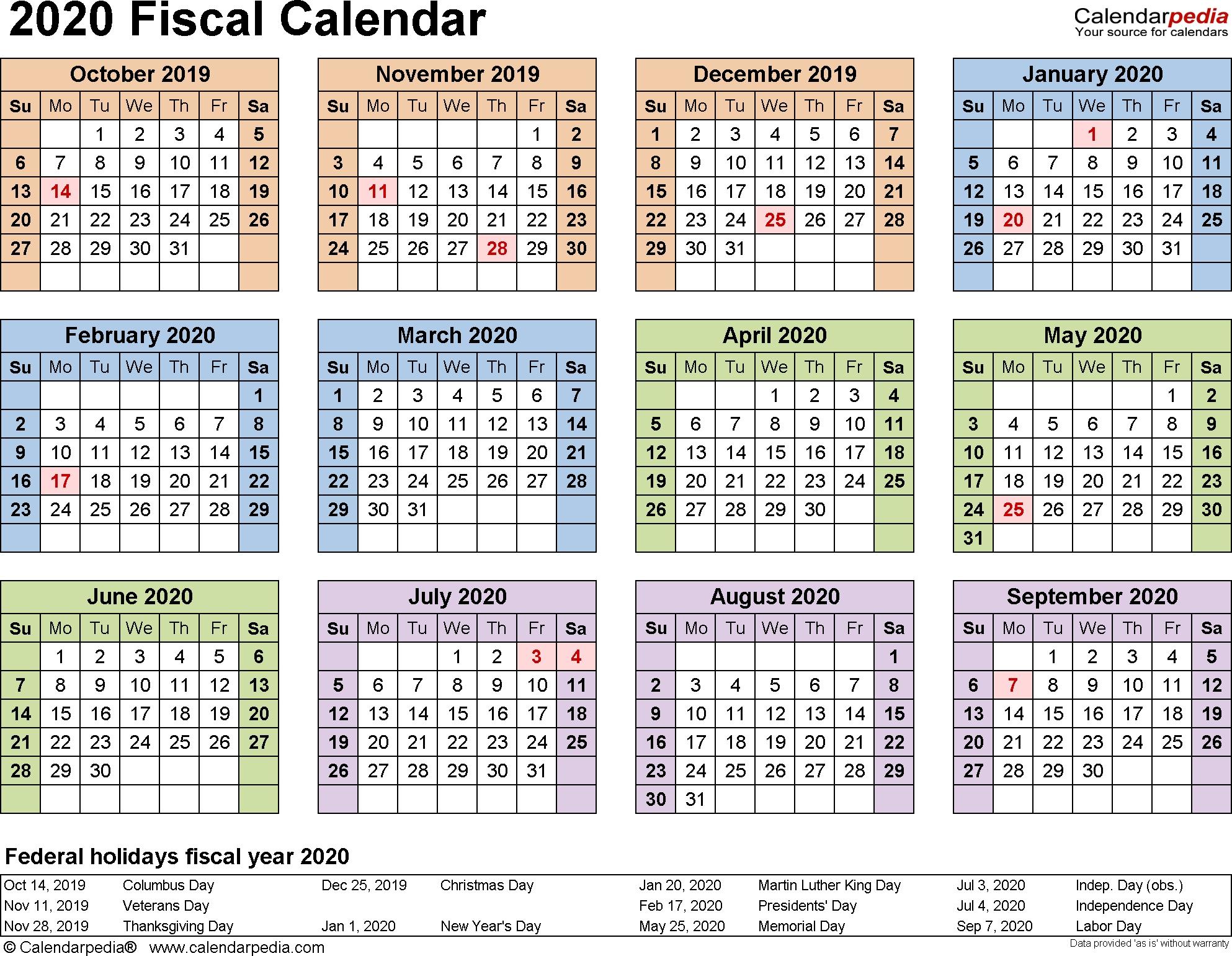 Fiscal Calendars 2020 As Free Printable Word Templates-Blank Quarterly Calendar Printable 2020