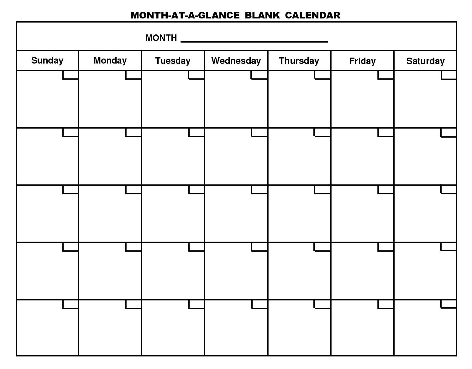 For Month At A Glance Blank Calendar Template - Free-Month At A Glance Blank Calendar Printable