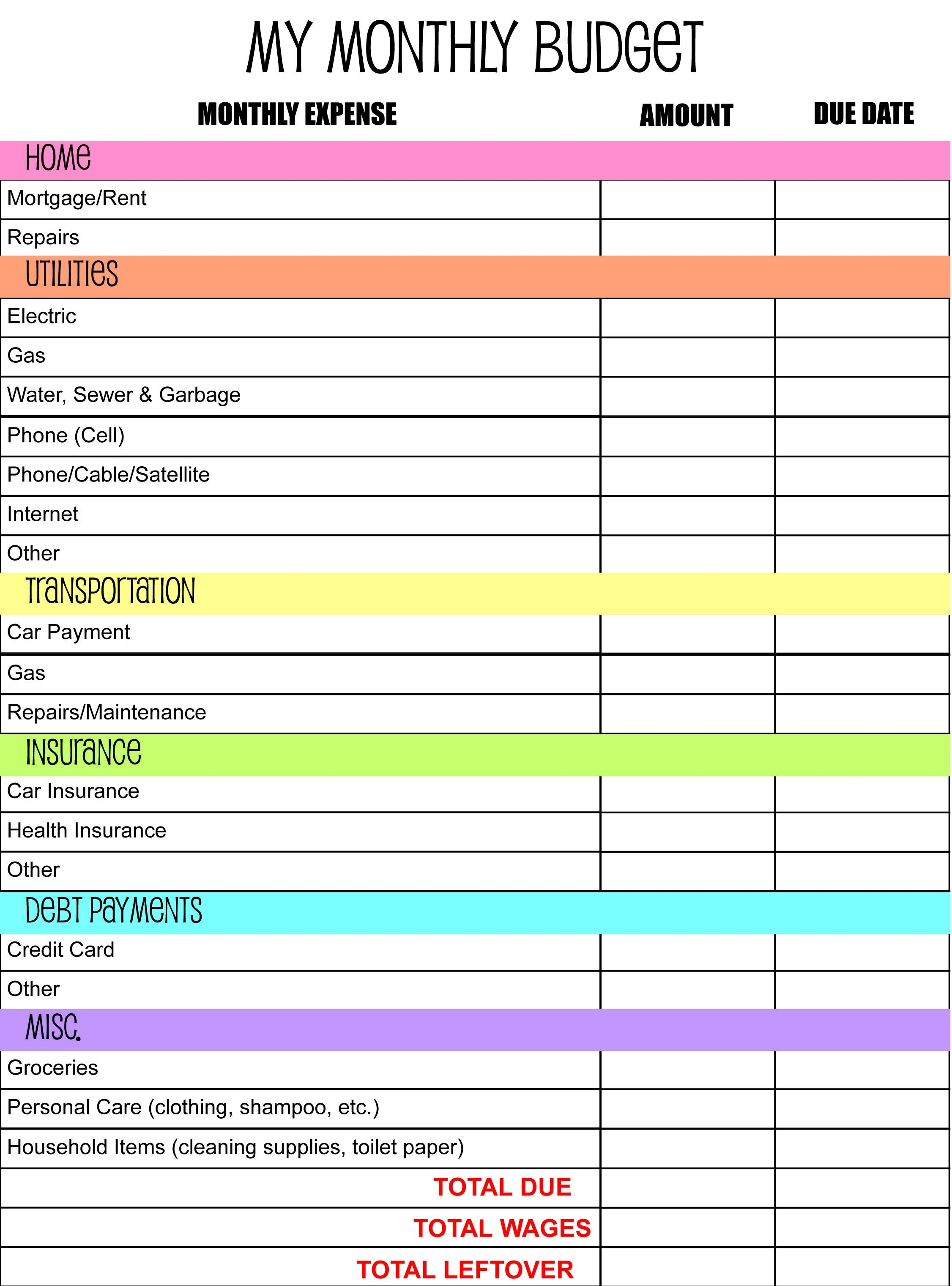 Found On Bing From Www.budgettemplatefree-Monthly Bill Planner Template