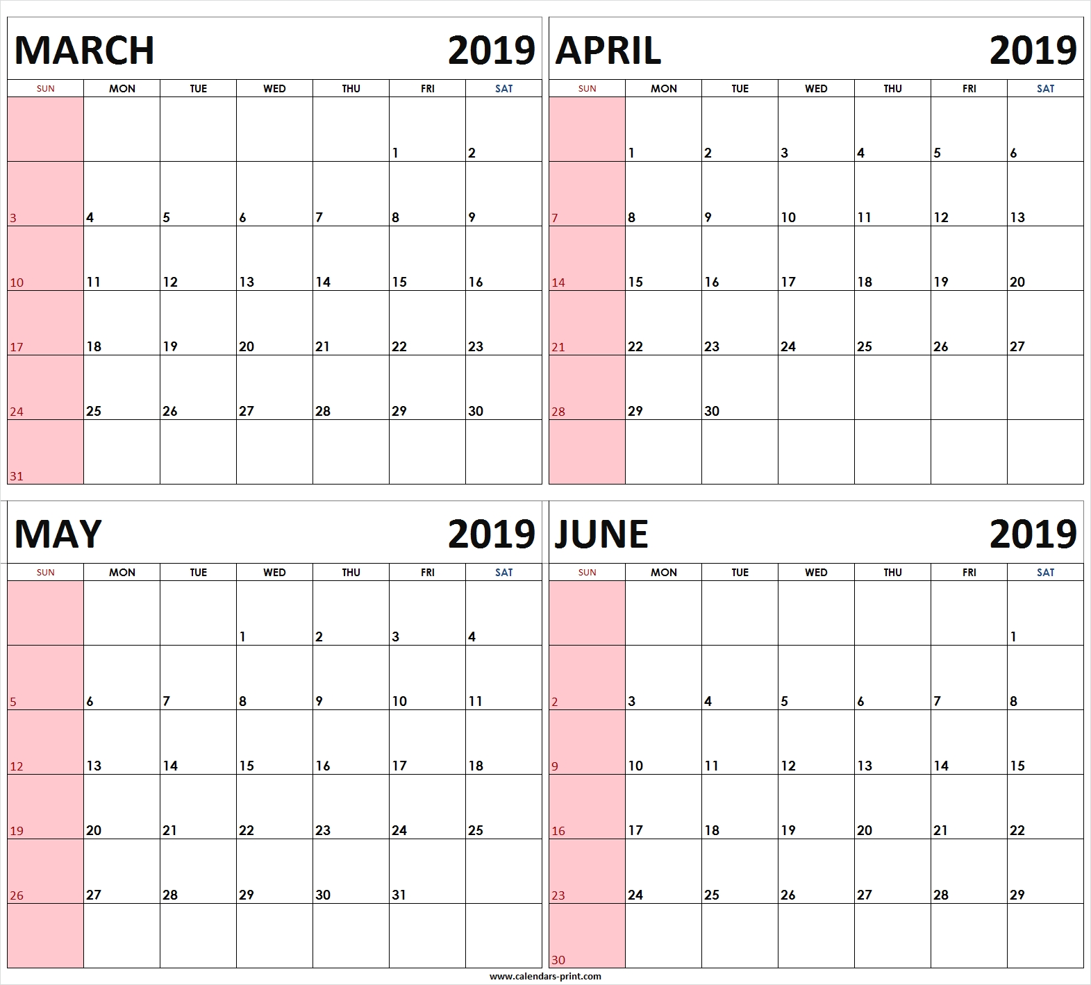 Four Monthly March April May June 2019 Calendar | Template-4 Month Planner Template
