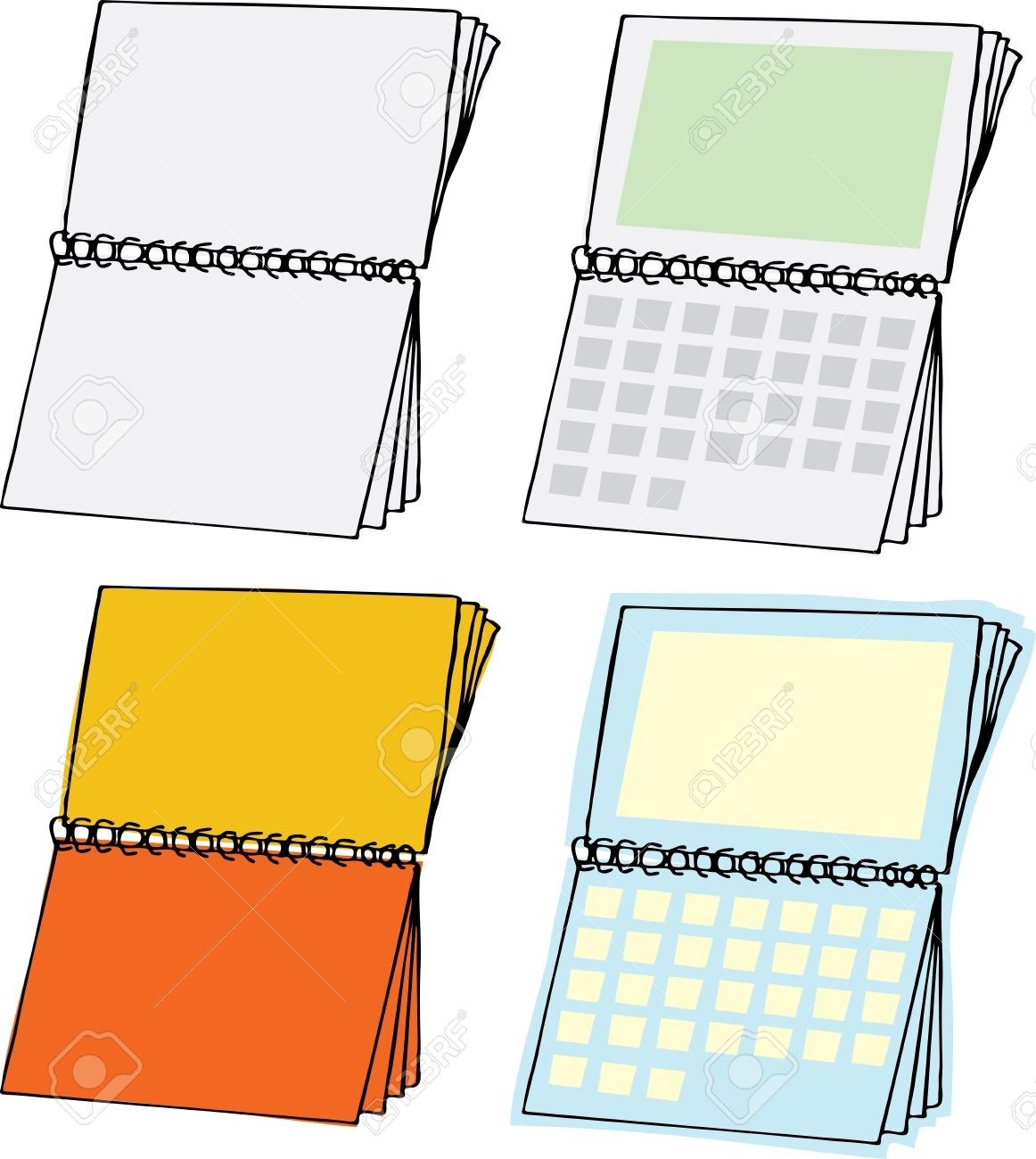 Four Types Of Blank Spiral Bound Calendars-Blank Spiral Bound Calendar