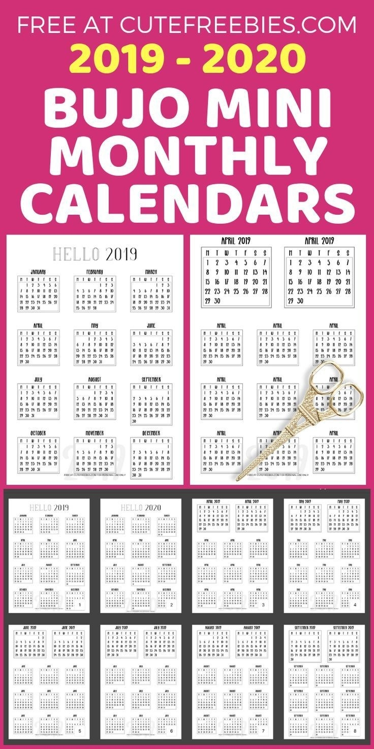 Free 2019-2020 Bullet Journal Calendar Printable Stickers-Free Monthly Holiday Themed Calendar Printable 2020-2020