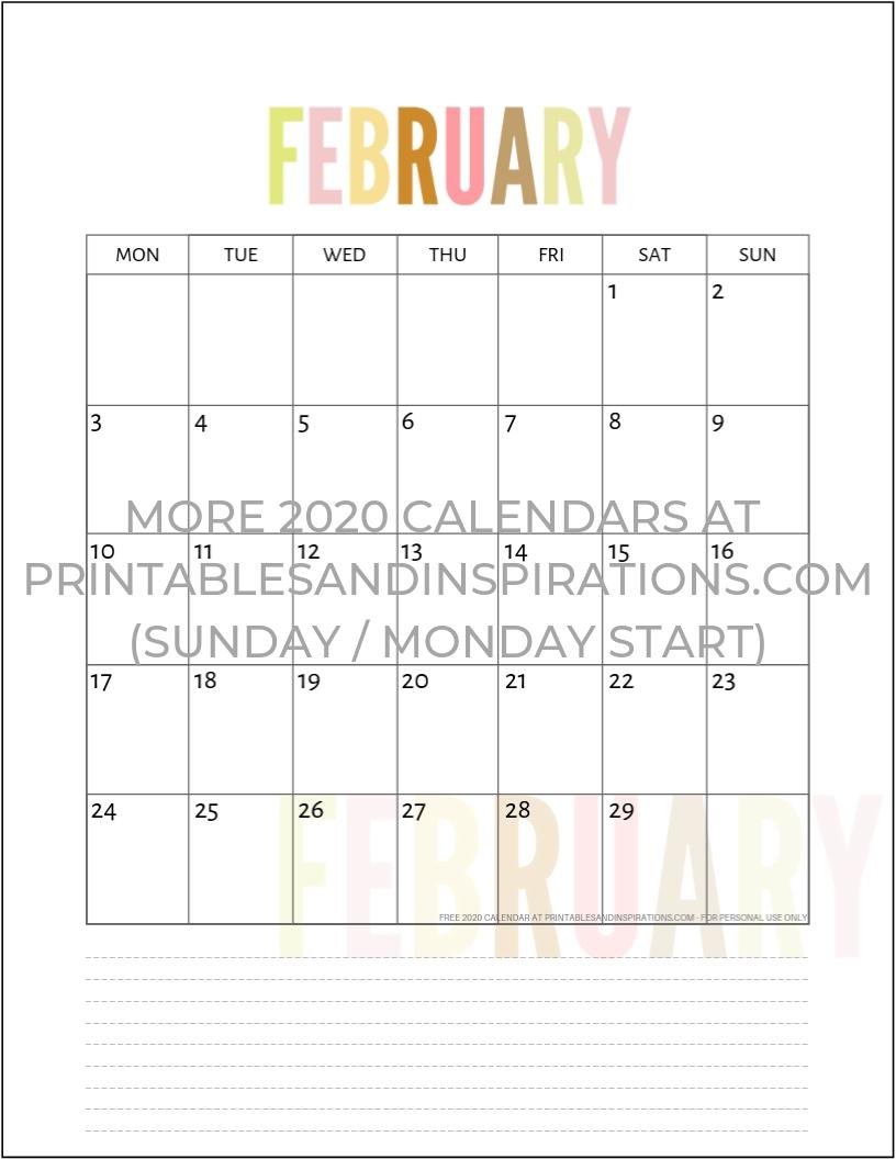 Free 2020 Calendar Printable Planner Pdf | Calendar-Printable Calendar 2020 Monthly Monday Start