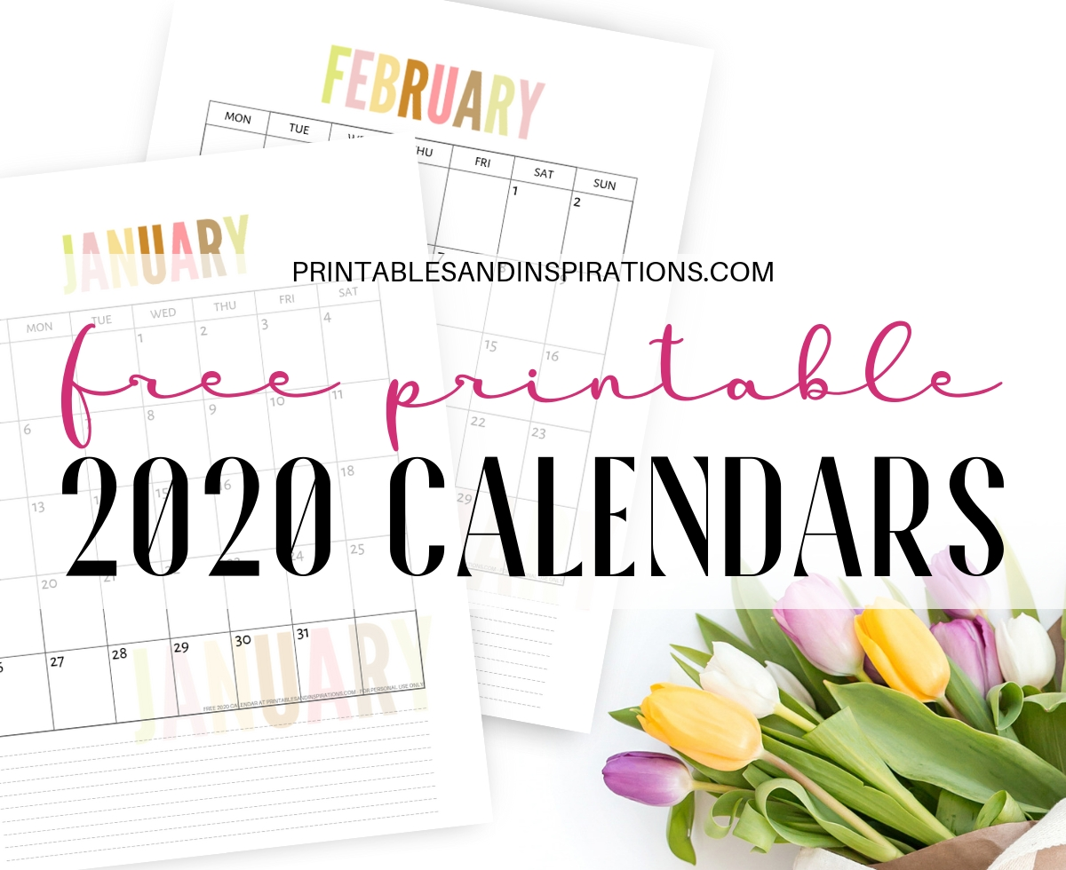 Free 2020 Calendar Printable Planner Pdf - Printables And-Pretty Monthly Calendar 2020