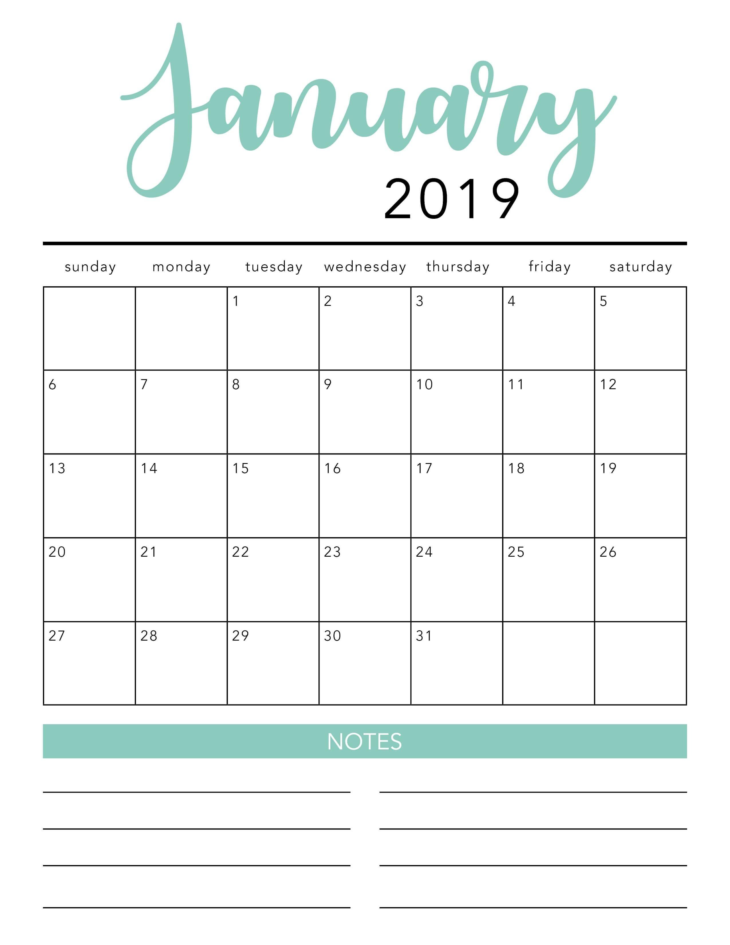 Free 2020 Printable Calendar Template (2 Colors!) - I Heart-Free Sticky Note Calendar Template