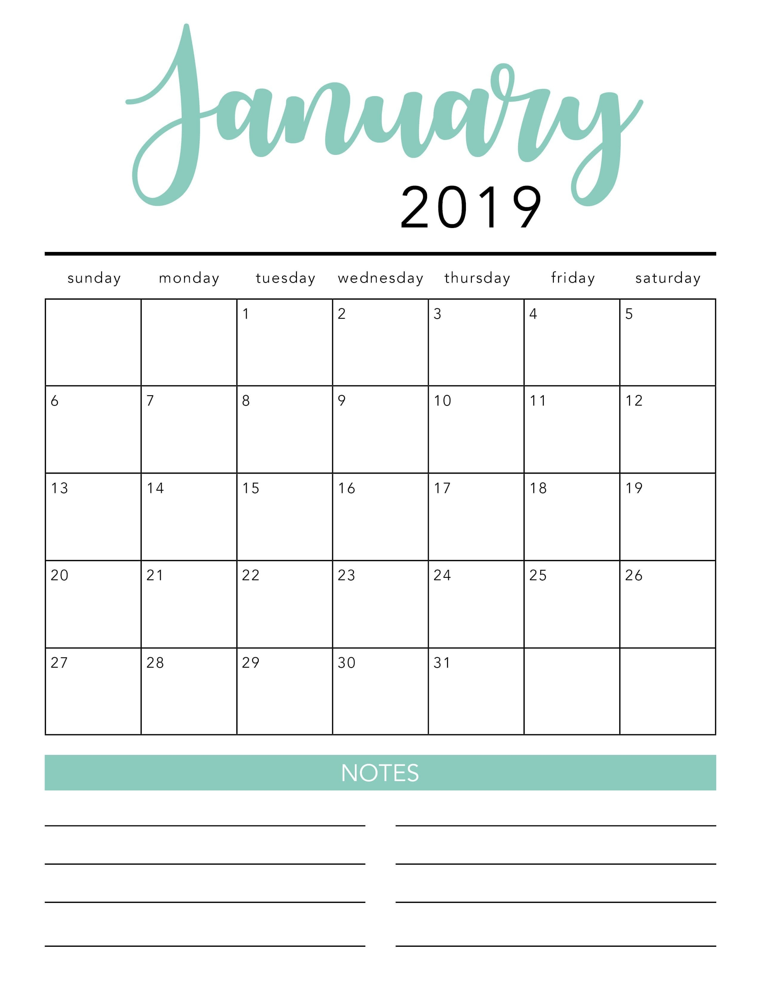 Free 2020 Printable Calendar Template (2 Colors!) - I Heart-Month Template 2020 Printable Free Starting On Monday