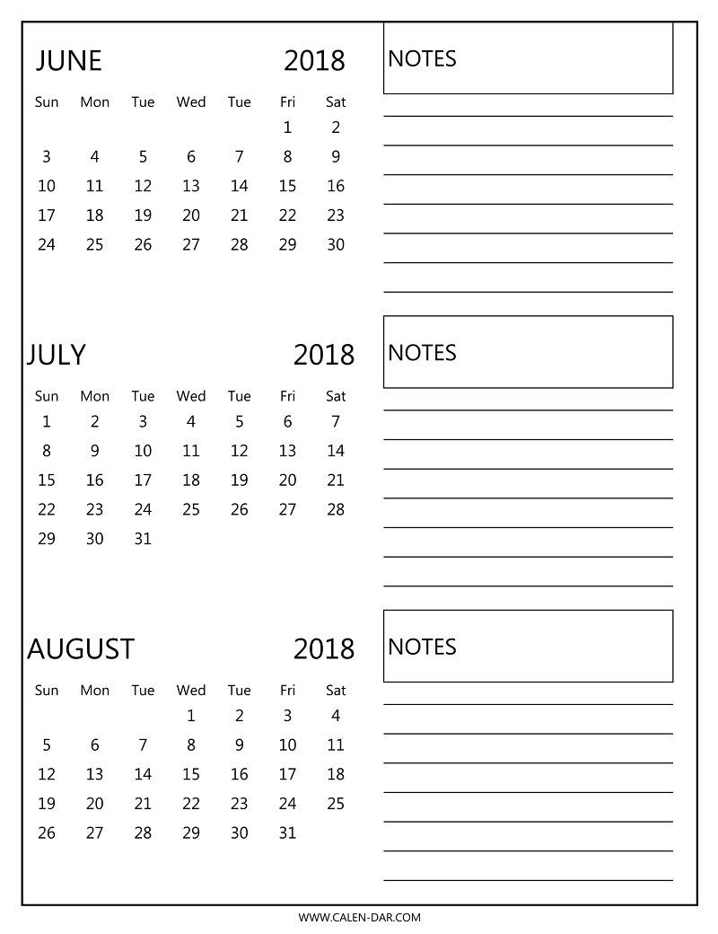 Free 3 Monthly Calendar 2018 June July August Print   2018-June July August Monthly Calendar Print