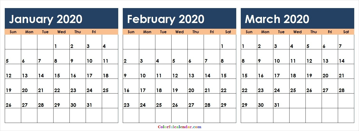 Free 3 Months January February March 2020 Calendar Colorful-2020 Calendar January February March