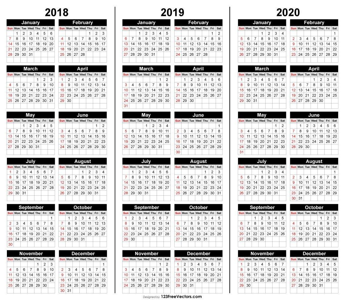 Free 3 Year Calendar 2018 2019 2020 | 2019 Calendar-Monthly Calendar 2020 Quran