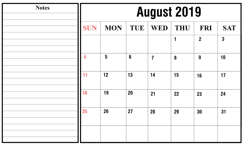 Free Blank August Calendar 2019 Printable Template-Free Calendar Template Printable 201