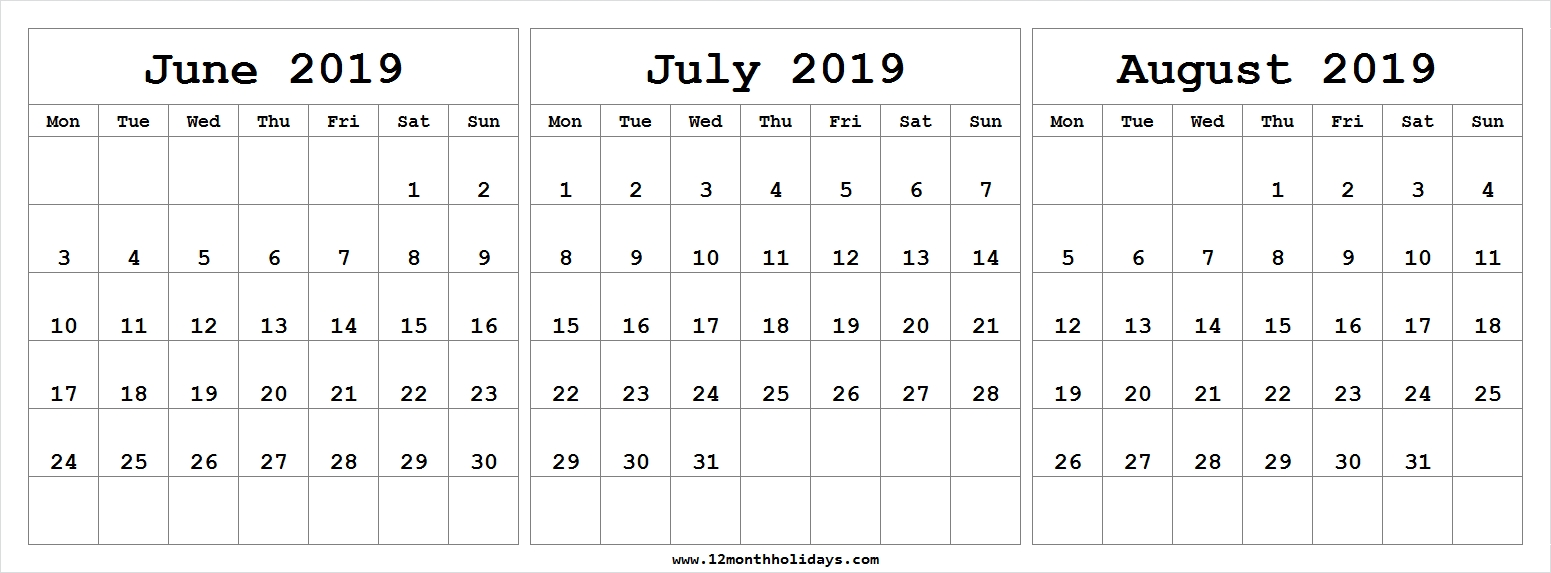 Free Blank Calendar 2019 June July August - All 12 Month-Printable Blank Calendars June July August