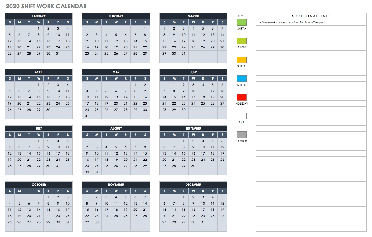 Free Blank Calendar Templates - Smartsheet-2020 Employee Attendance Calendar Templates