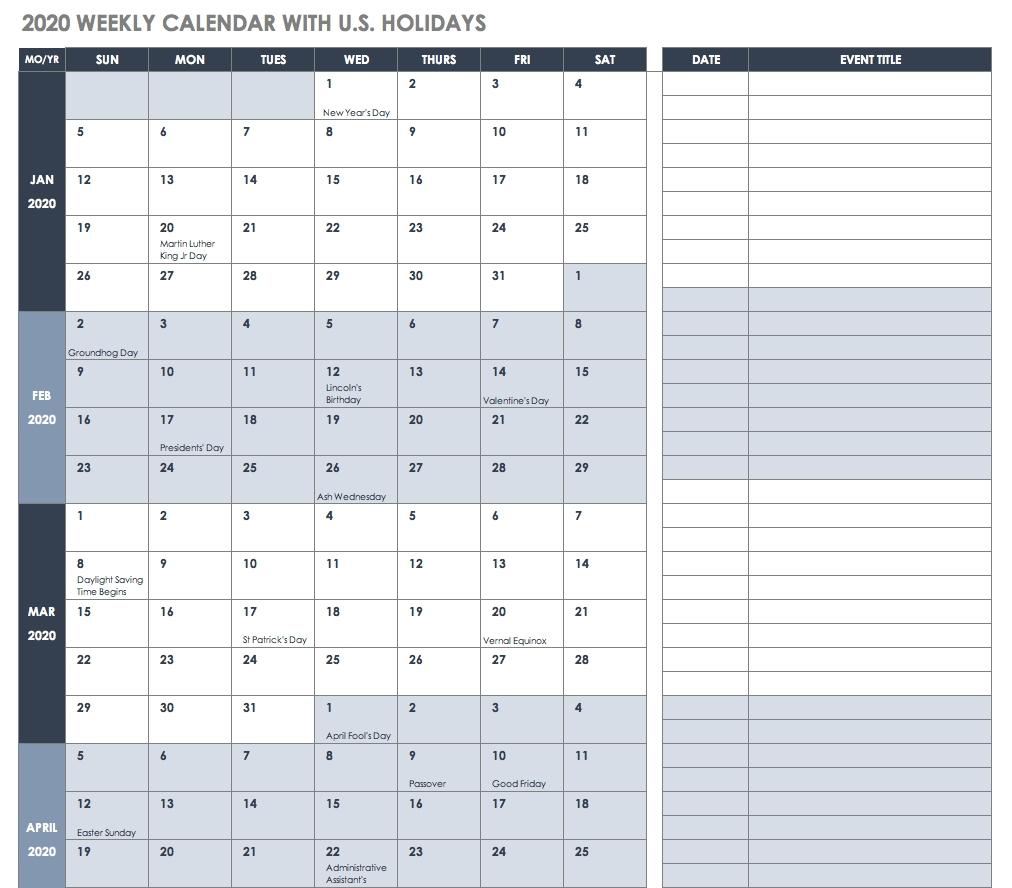 Free Blank Calendar Templates - Smartsheet-2020 Printable Employee Attendance Calendar Template