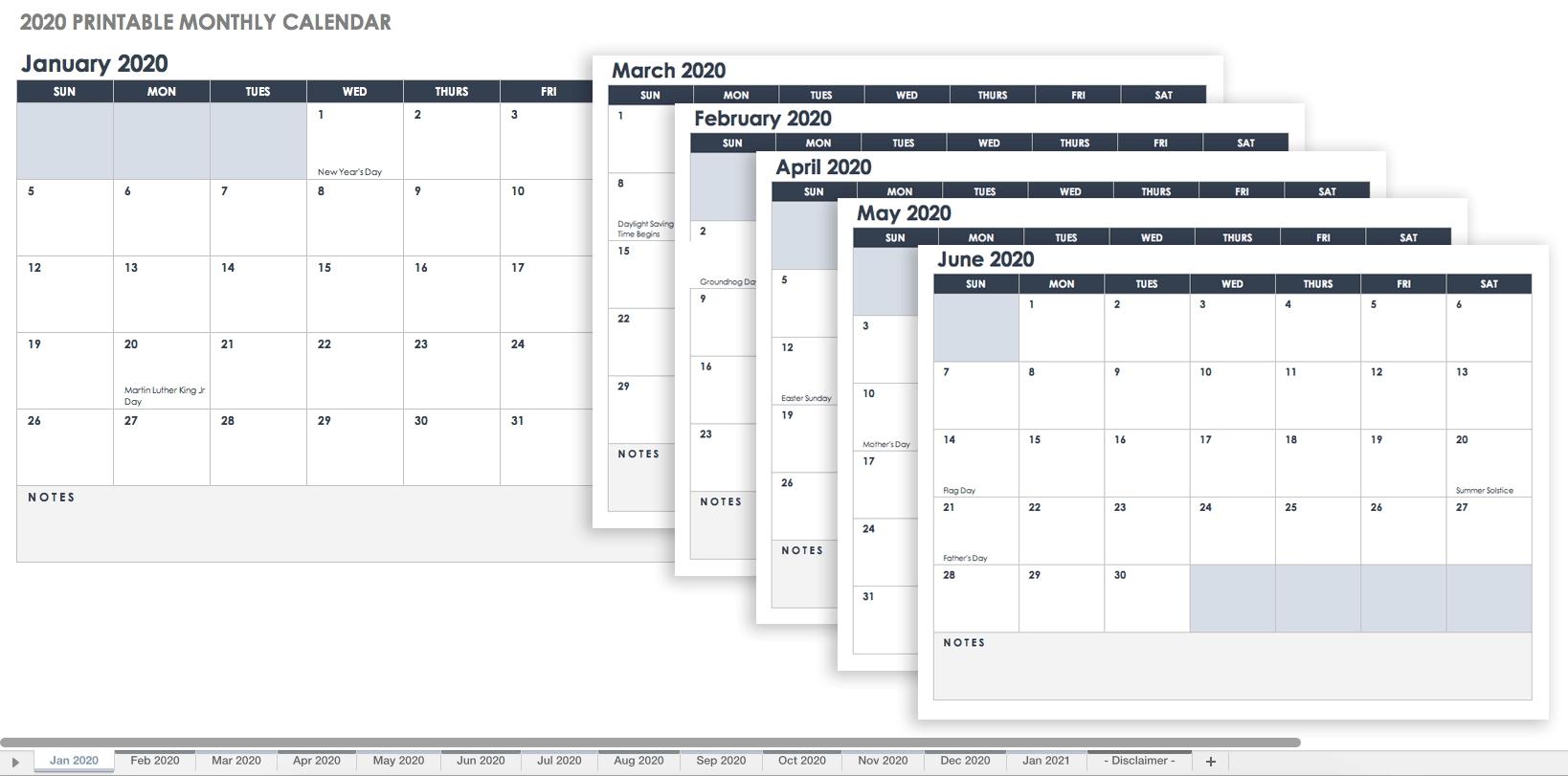 Free Blank Calendar Templates - Smartsheet-Monthly Calendar Printable No Dates